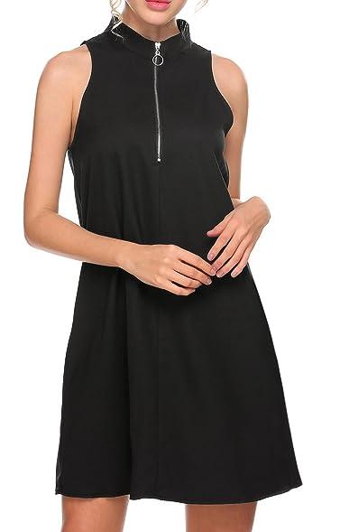 Meaneor Damen Kleid Neckholder Ärmelloses Hochgeschlossen mit Reißverschluss  A-Linie Knielang Brautjungferkleid Abendkleid Cocktailkleid Partykleid