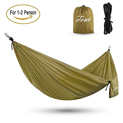 touz parachute lightweight portable nylon fabric travel camping hiking hammock   camel    amazon    touz parachute lightweight portable nylon fabric      rh   amazon