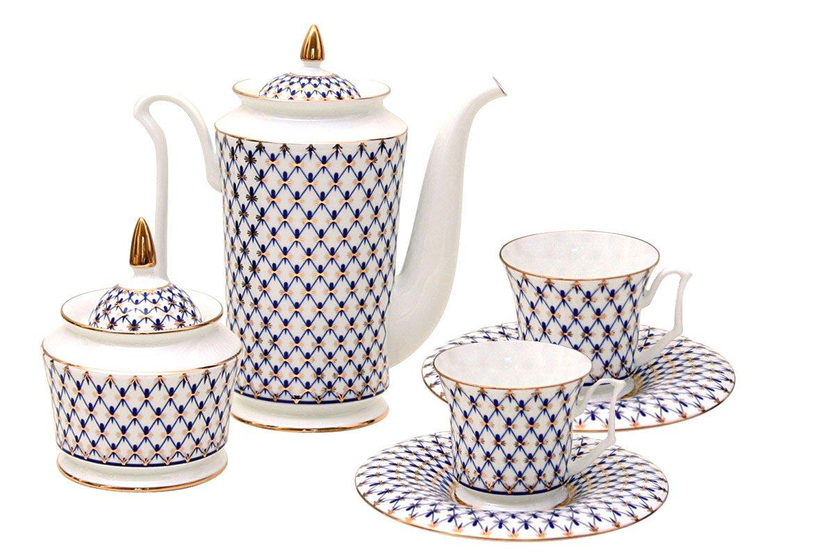 Coffee Set 4 pc Julia Cobalt Net: Coffee Pot, Sugar Bowl, 2 Esprecco Cups Lomonosov Bone China Porcelain
