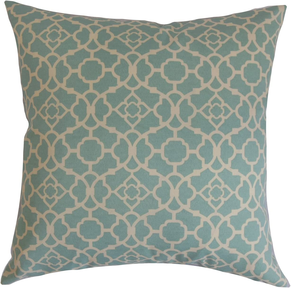 The Pillow Collection Taife Geometric Pillow, Teal White