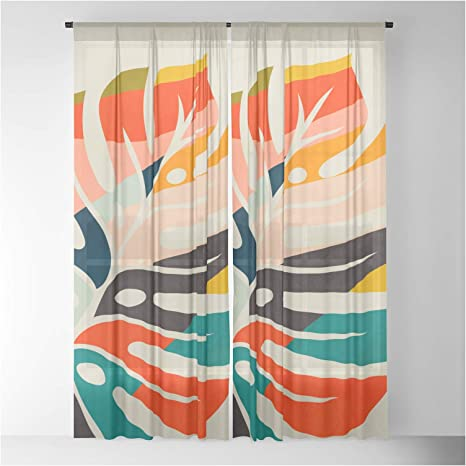 Society6 Shape Leave Modern Mid Century By Ana Rut Bre Fine Art On Sheer Curtains Drapes 50 X 96 Set Home Kitchen