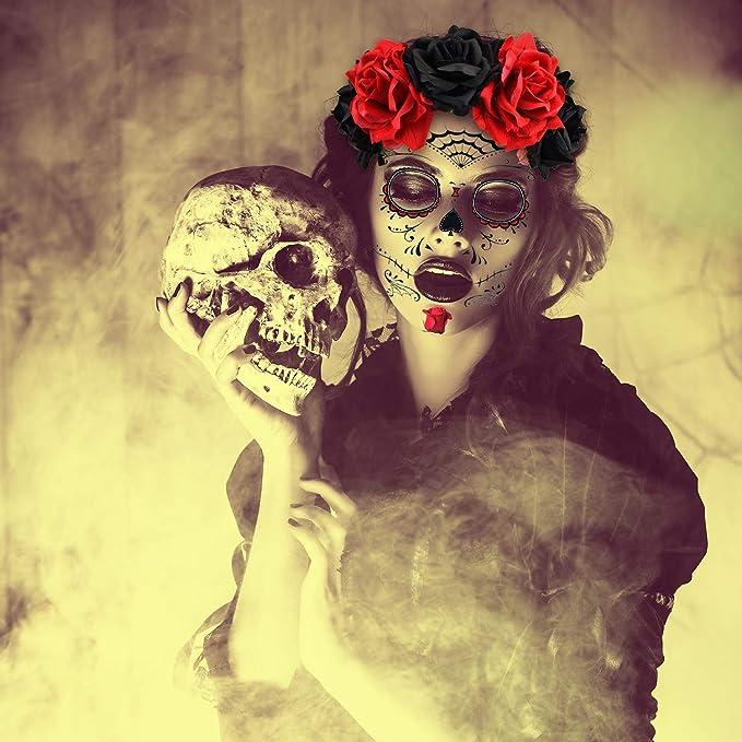 Tatuajes Temporales de Cara de Halloween Tatuajes de Azúcar y Flor ...