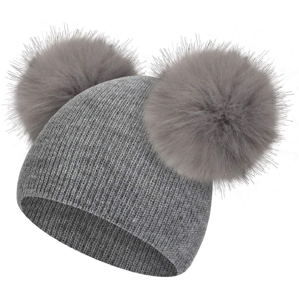 heekpek Lovely Baby Sombrero de Invierno Ni/ñas Ni/ños Piel Pom Pom Sombreros Lindo Gorro de Dobladillo de Punto Sombrero de Gorro c/álido para ni/ña