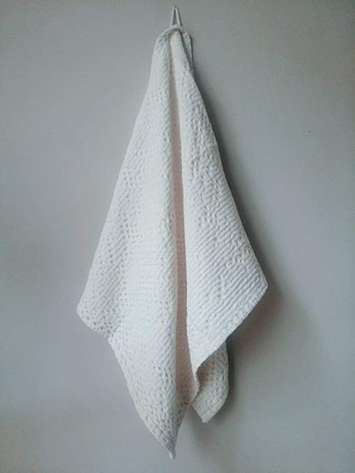 Toalla de baño o invitados 100% algodón superior de panal de abeja Gauffre 100 x 50 cm Ecru SOREMA: Amazon.es: Hogar