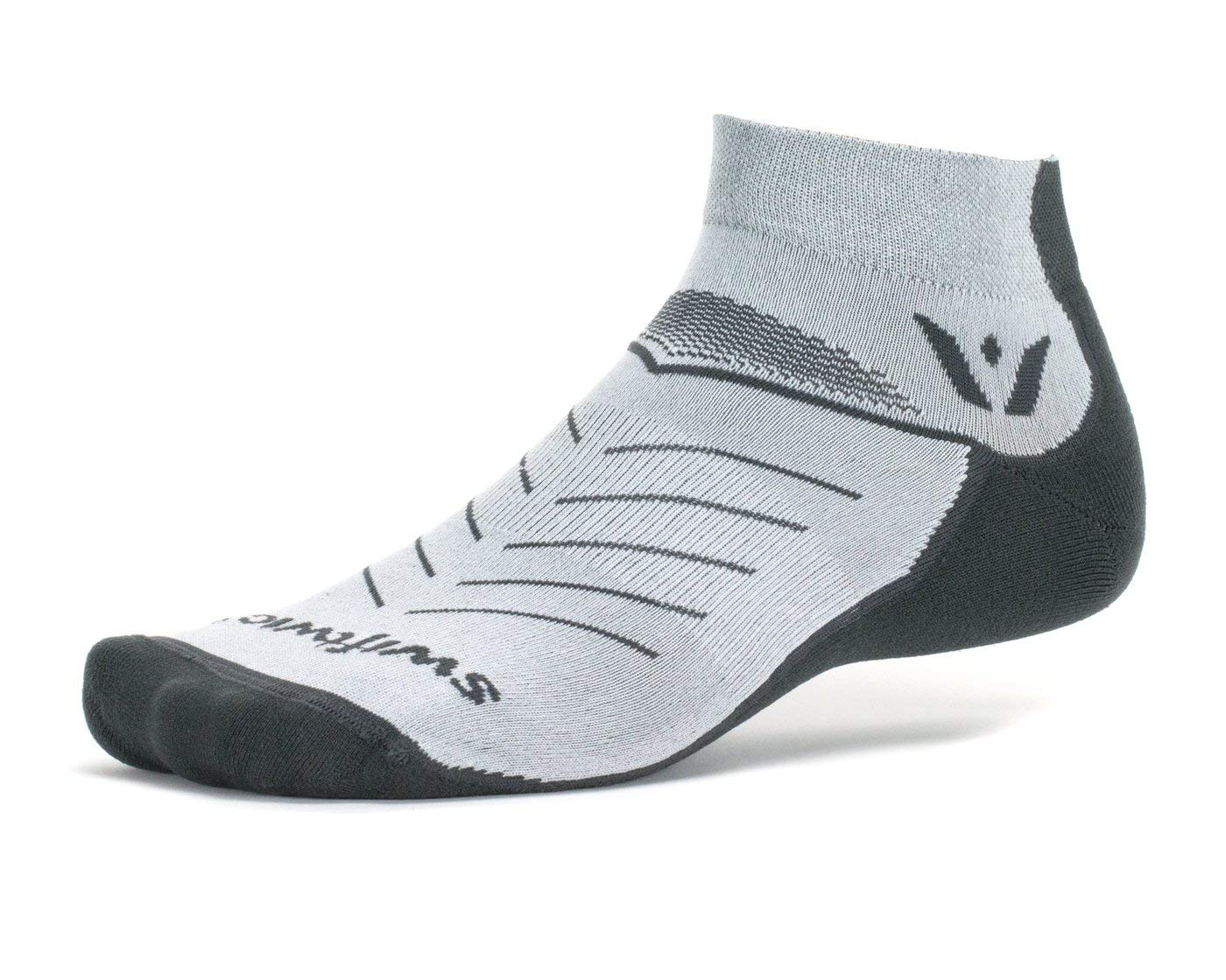 Swiftwick- VIBE ONE | Socks Built for Trail Running, All Day Comfort | Cushioned, Lightweight, Fast Dry Ankle Socks | Gray, Large by Swiftwick