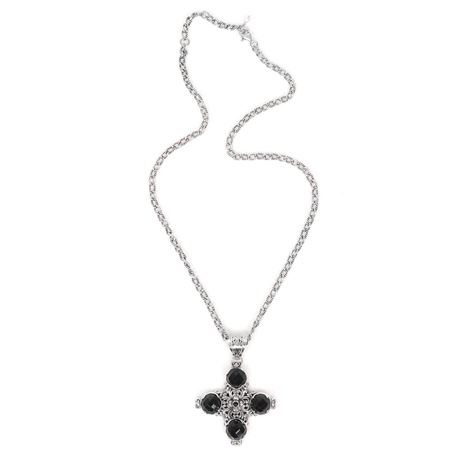 NOVICA Onyx Silver White Cultured Freshwater Pearl .925 Silver Necklace Pillars of Faith 19.75