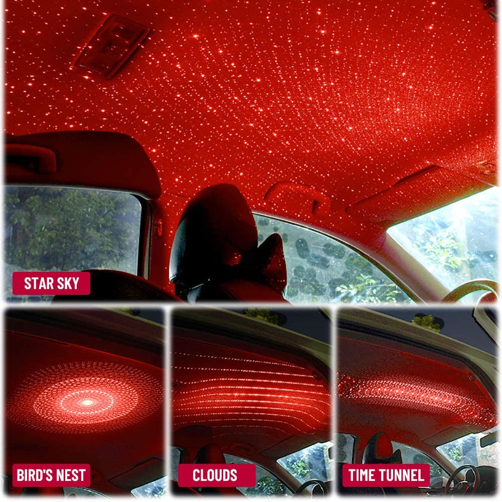 PJLee 4 In 1 USB Car Roof Star Sky LED Lamp Auto Interior Atmosphere Galaxy Night Light LED Projector Light Fit Car Ceiling Interior Party Red Adjustable 4-Models Lighting Design
