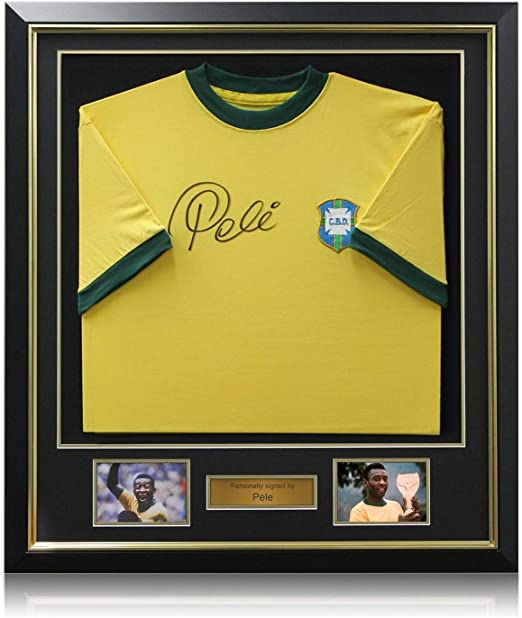 exclusivememorabilia.com Camiseta de fútbol de Brasil firmada por Pelé. En Marco: Amazon.es: Deportes y aire libre