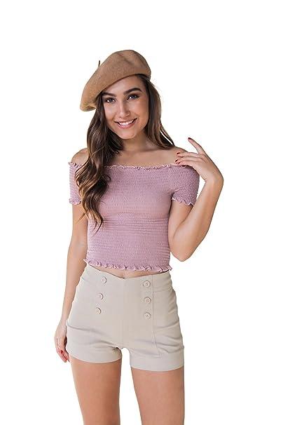 412645a9b Bebop Womens Pull-On Khaki Size 1 Sailor Shorts High Waist Front Buttons