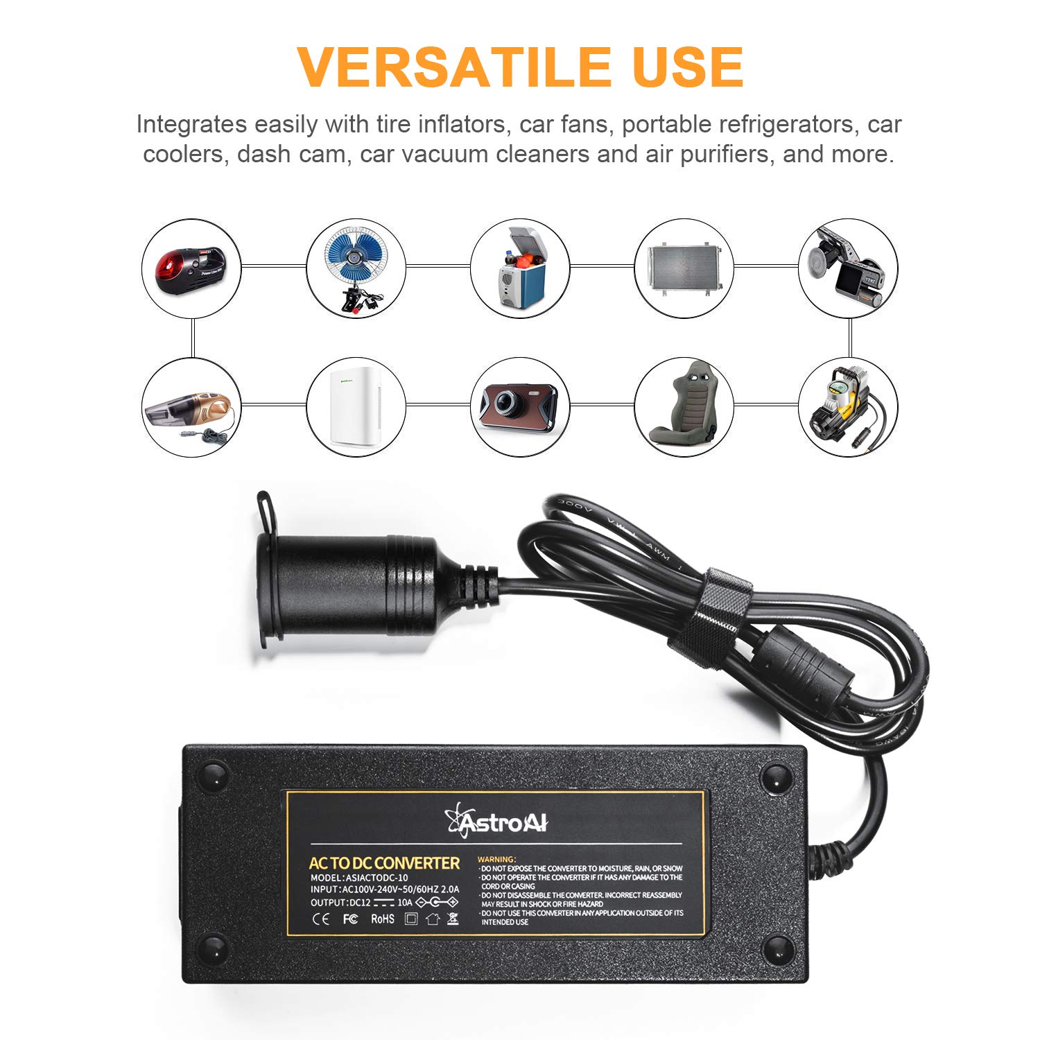AstroAI AC to DC Converter, 10A 120W 110-220V to 12V Car Cigarette Lighter Socket AC DC Power Supply Adapter for Air Compressor Tire Inflator and Other 12V Devices Under 120W, Black by AstroAI (Image #4)