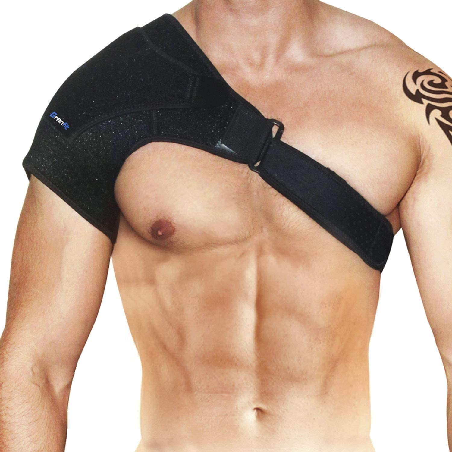 Shoulder Brace & Rotator Cuff Support Brace for Men & Women by BRANFIT, Shoulder Compression Sleeve with Pressure Pad is Ideal for Dislocated AC Joint, Labrum Tear & Frozen Shoulder Pain Relief: Health & Personal Care