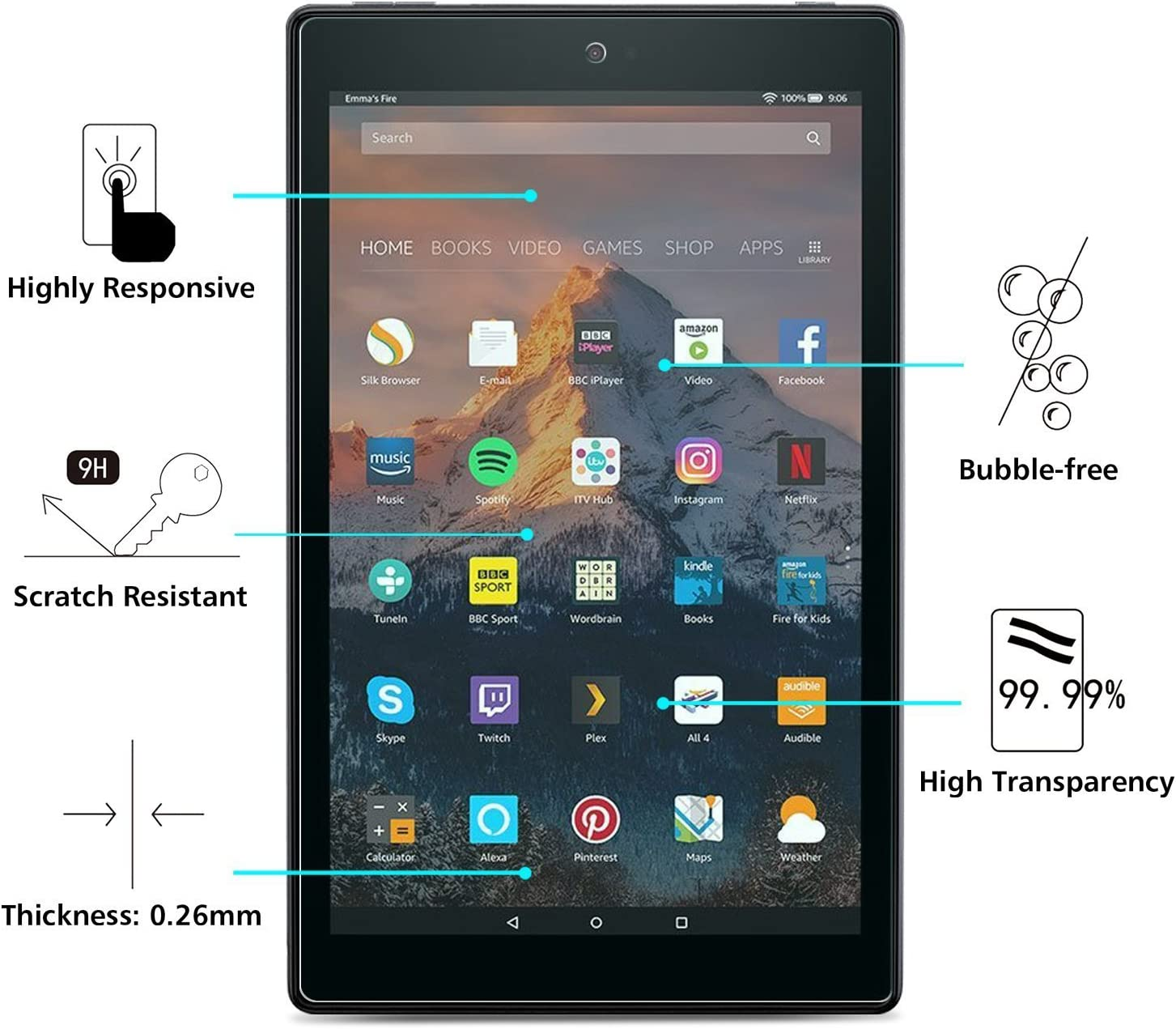"""SOINEED Amazon Fire HD 10 Tablet 7th 2017 10.1/"""" Tempered Glass Screen Protector"""