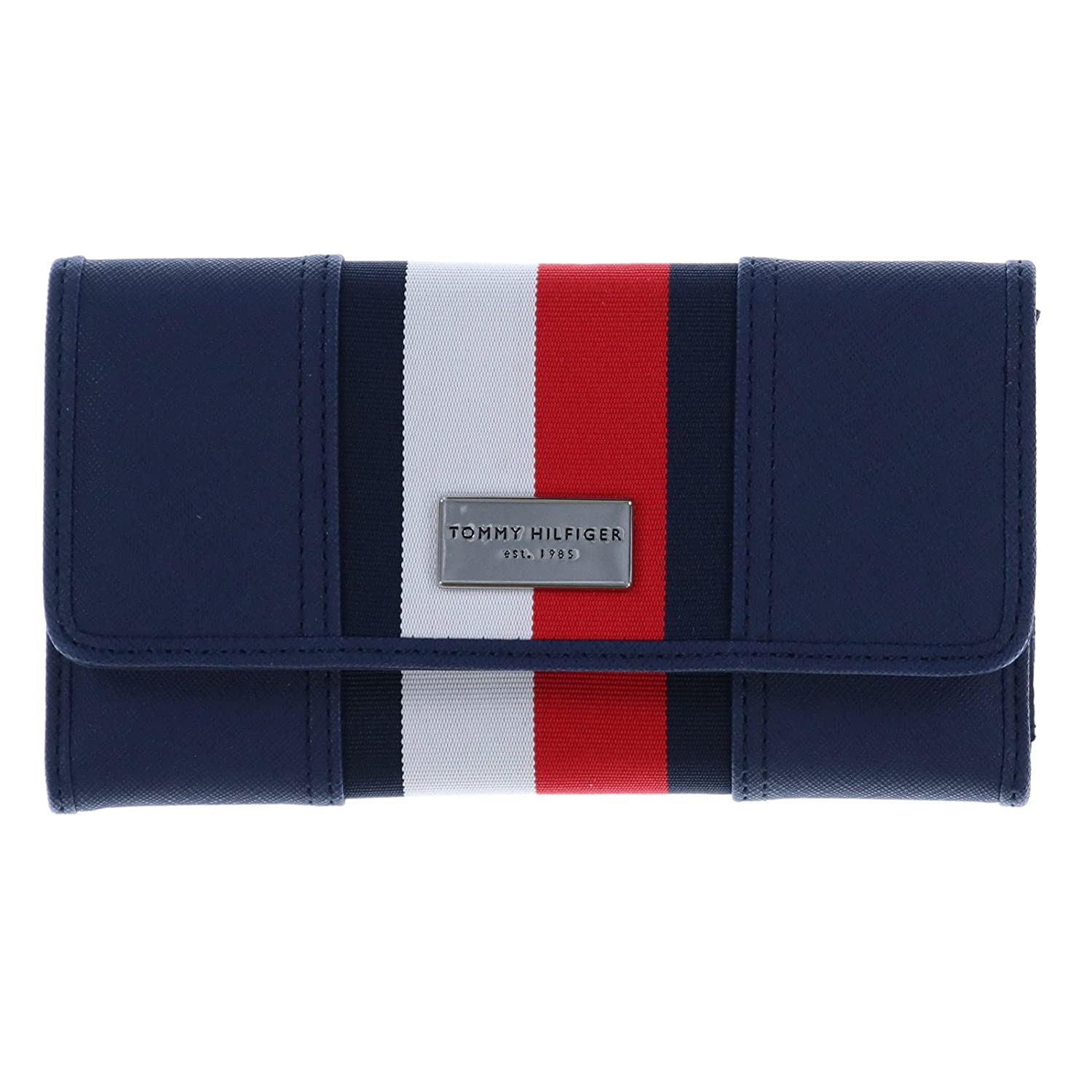 Tommy Hilfiger Womens Core Wallets Continental Checkbook Wallet TH Navy Red