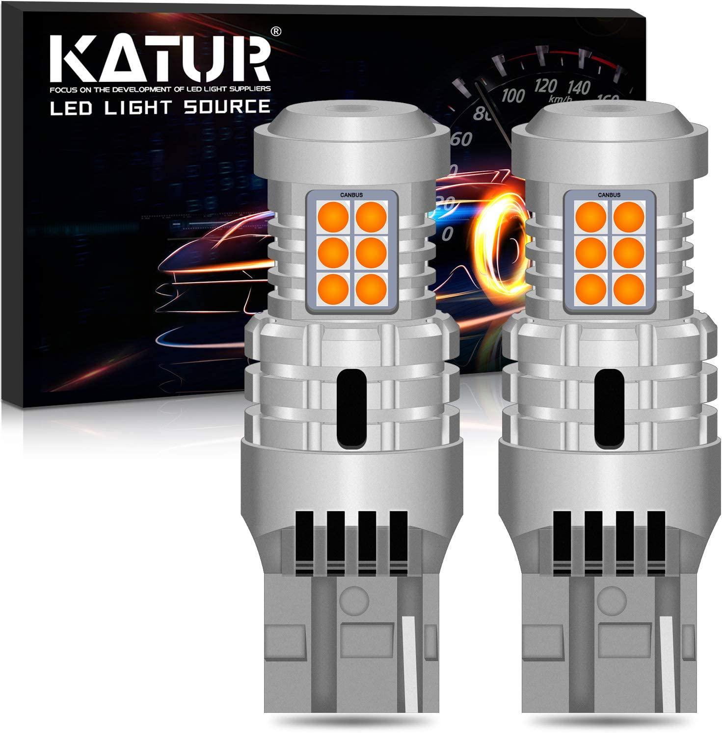 KATUR T20 7440 W21W WY21W 7440NA Bombillas LED Superbrillantes 12pcs 3030 y 8pcs 3020 Chips Canbus Error Señal de Giro Libre Freno Trasero Cola de estacionamiento Luces,Ámbar Amarillo(Paquete de 2)
