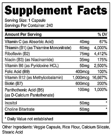 Amazon.com: Nutricost alta potencia Vitamina B Complejo 415 ...