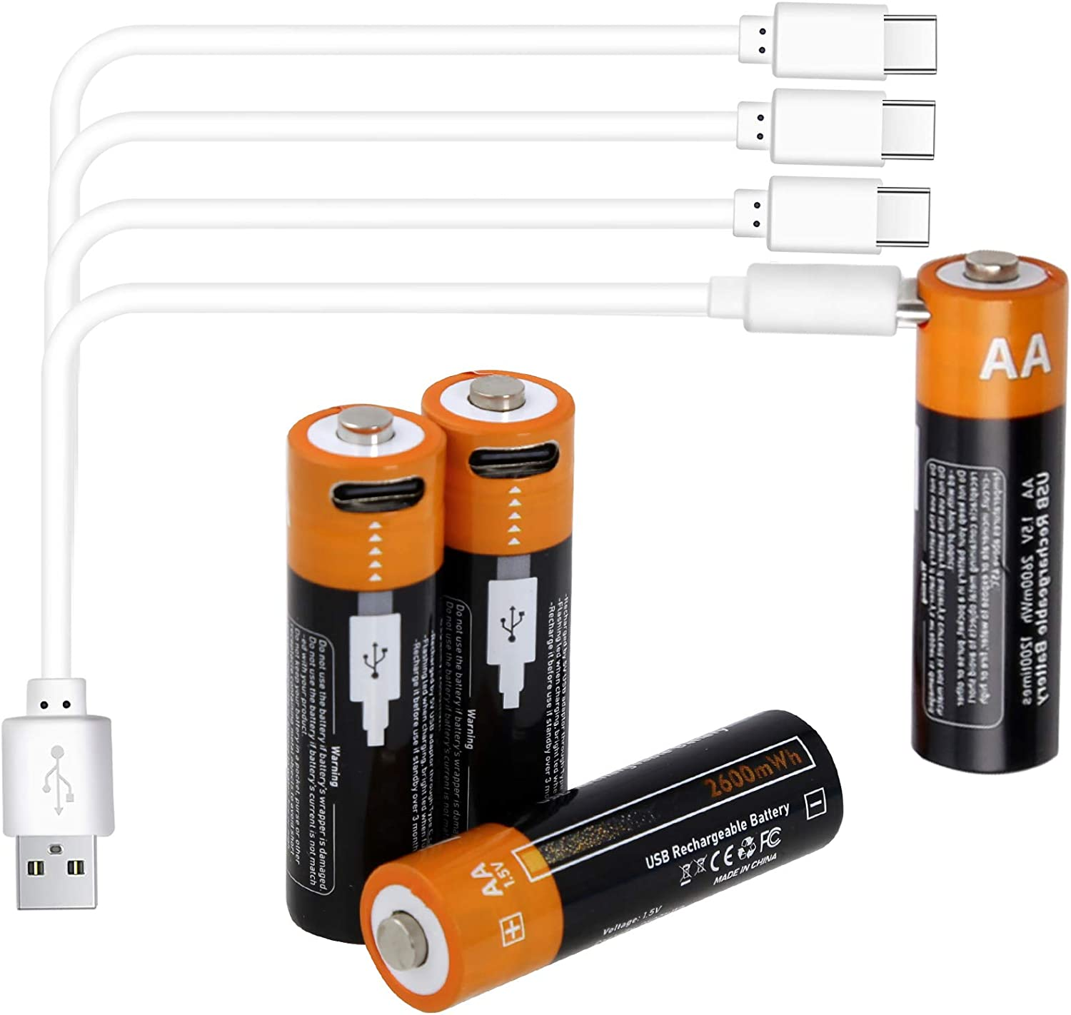 Amazon Com Rechargeable Batteries Aa Uzone 2600mwh Aa Recharge Battery With Usb Charger 4 In 1 Usb Type C Charging Cable 1 5v Lithium Ion Aa Battery Over 1200 Cycles Storage Cases Pack Of 4 Electronics