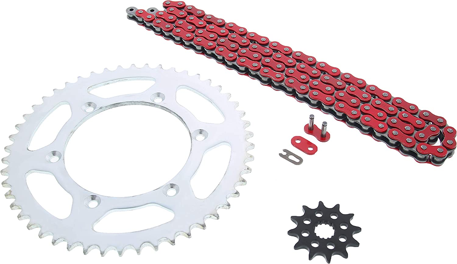 1999-2004 Yamaha YZ125 125 Red Non O Ring Chain /& Sprocket Silver 12//50 114L