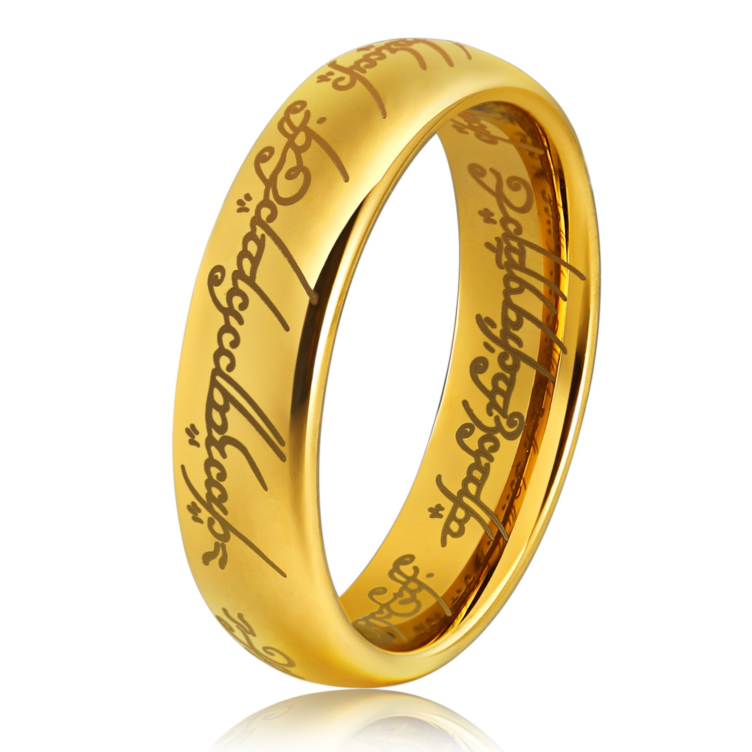 Lord of the Rings for Men Women 6mm Gold Womens Mens Wedding Engagement Promise Band Tungsten Carbide Ring Sets Prayer Jewelry Gift for Girls Boys Son Dad Mom Boyfriend Girlfriend Size 10