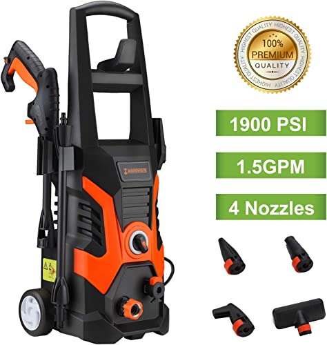 US PIEDLE Electric Pressure Washer 1900 PSI 1.5GPM 13-AMP Power Washer W 3 Various Nozzles Soap Dispenser and Wash Brush, Black and Orange