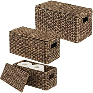 mDesign Natural Woven Water Hyacinth Closet Storage Organizer Basket Bin with Removeable Lids to use in Closet, Bedroom, Bathroom, Entryway, Office - Set of 3 - Dark Brown Finish