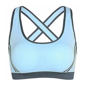 Sujetador Deportivo De Yoga Para Mujer,Netspower Sujetador Deportivo De Yoga Para Mujer Brazaletes Anchos Sujetador Bralette Suporte Sin Costuras-Azul ...