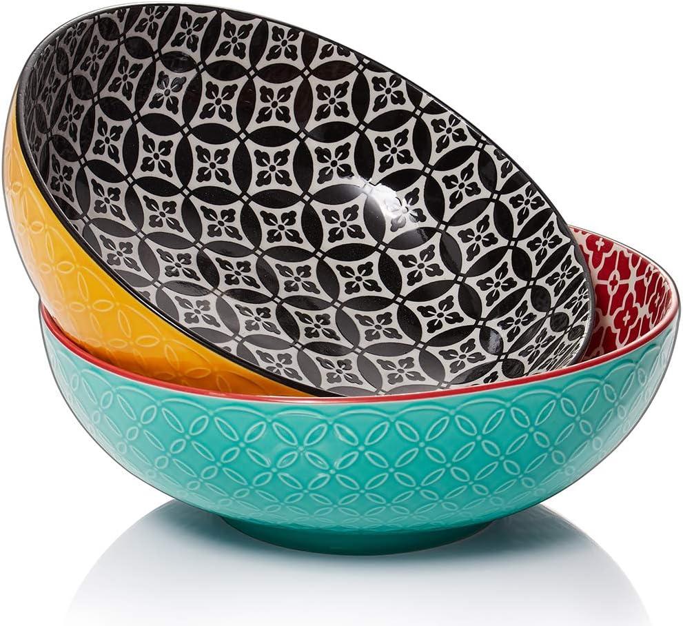 DOWAN Large Serving Bowls, 2.8 Quart Porcelain Salad Bowls, Pasta Bowl Set, Microwave & Dishwasher Safe, Sturdy & Stackable, 9.5 Inch, Set of 2, Multicolor