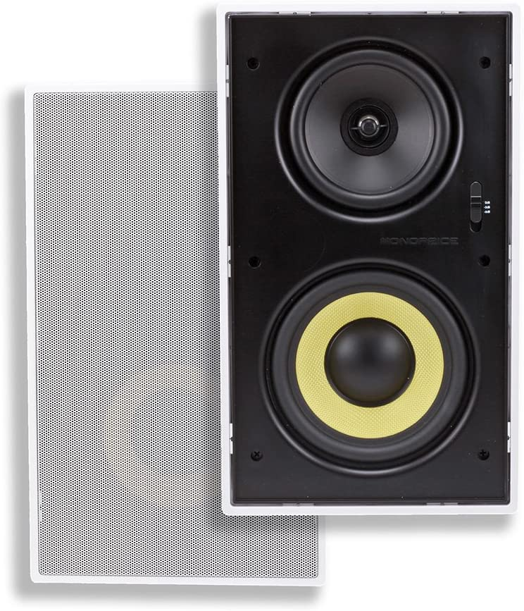 Monoprice - 107604 3-Way Aramid Fiber in-Wall Speakers - 6.5 Inches (Pair) with Concentric Mid/Highs, and Titanium Silk Dome Tweeters - Caliber Series