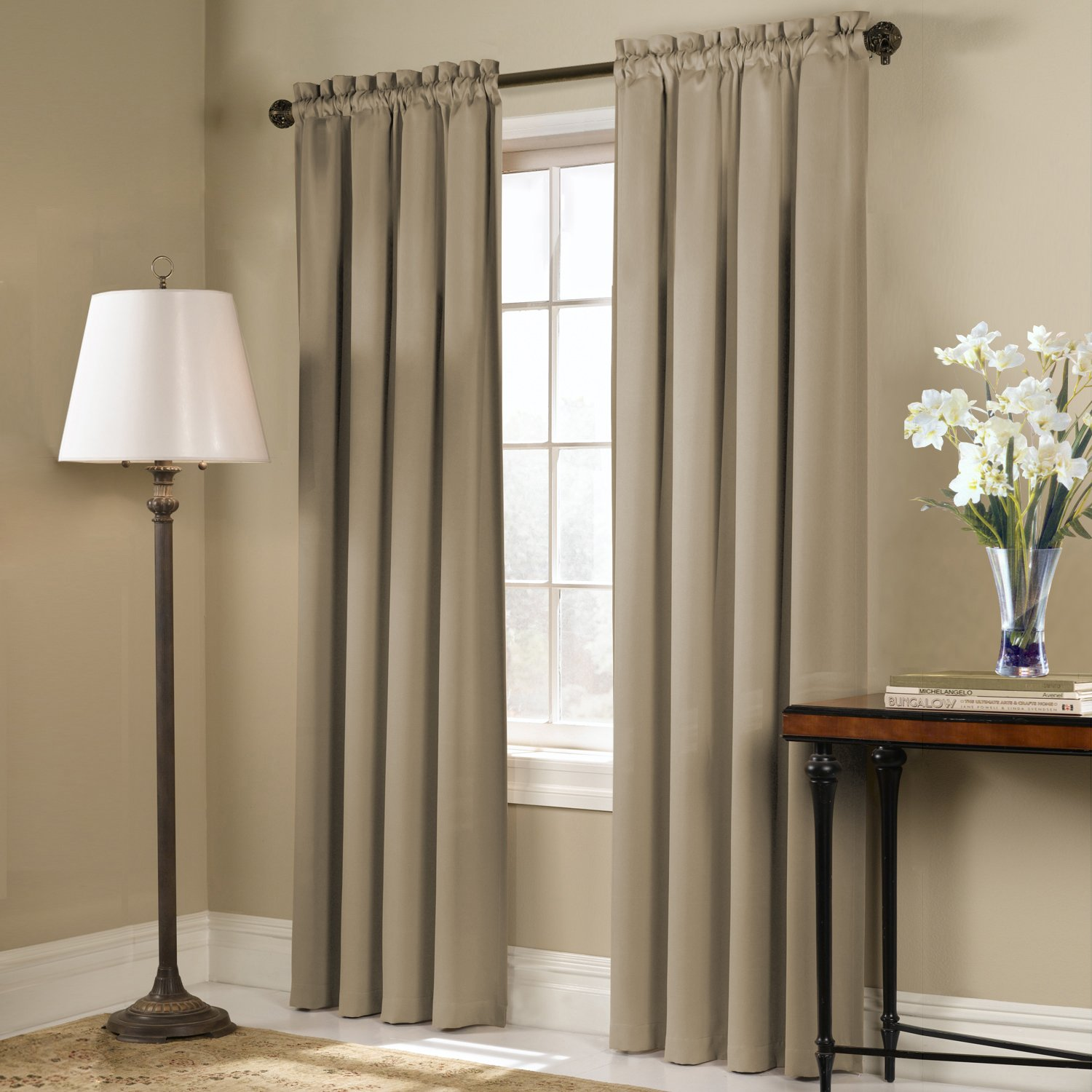 Amazon United Curtain Blackstone Blackout Window Panel 54 By 45 Inch Taupe Home Kitchen