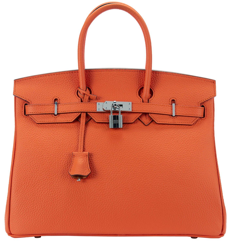 Cherish Kiss Women's Padlock Handbag Genuine Leather Top Handle Bag with Silver Hardware (30CM Silver Orange)