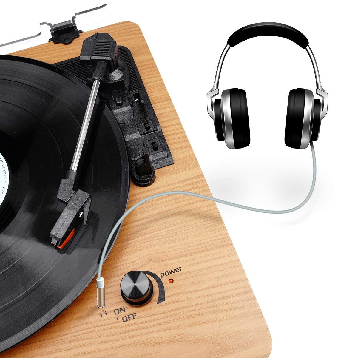 Headphone Jack and RCA Output Wrcibo Record Player Natural Wood Aux-in Vintage Turntable 3-Speed Belt Drive Vinyl Player LP Record Player with Built-in Stereo Speaker
