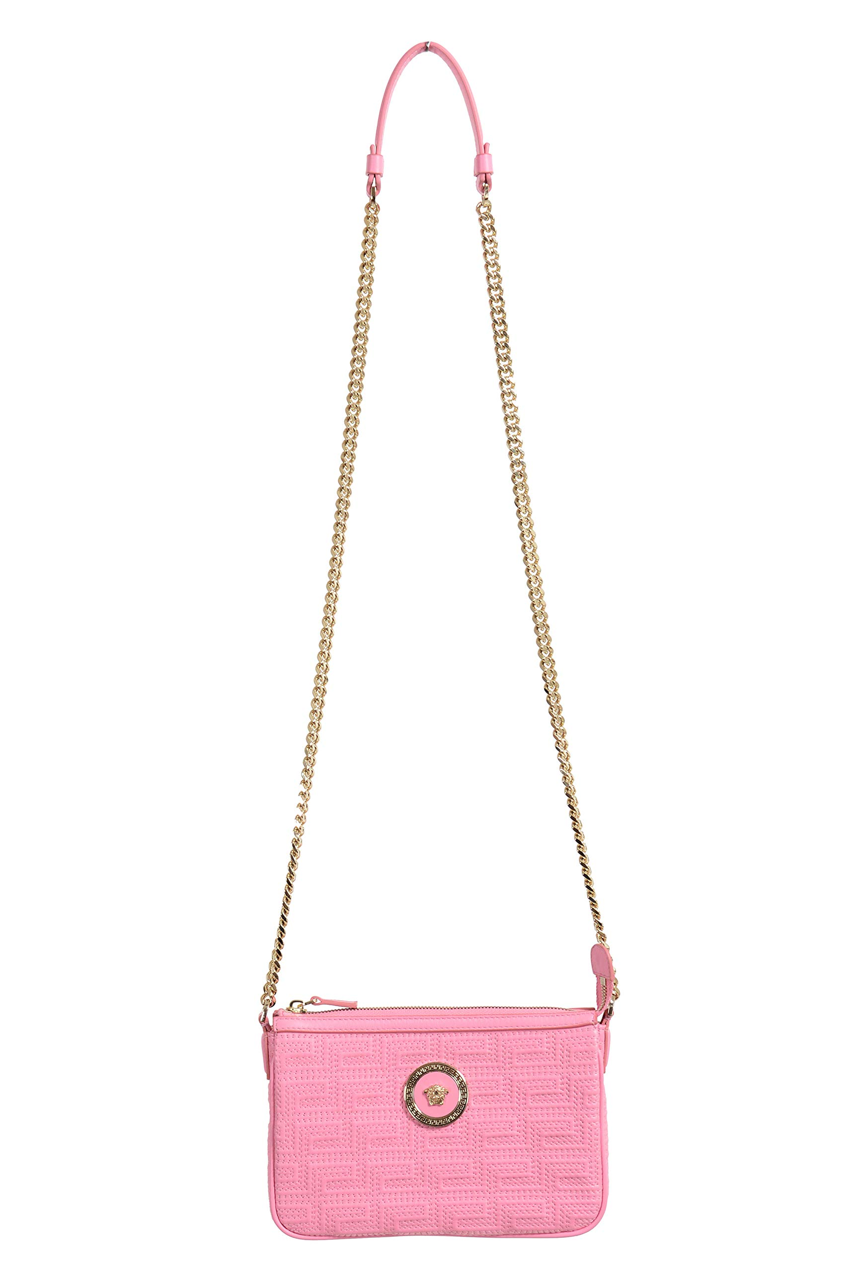 Quilted Leather Pink Chain Strap Women's Crossbody Shoulder Bag