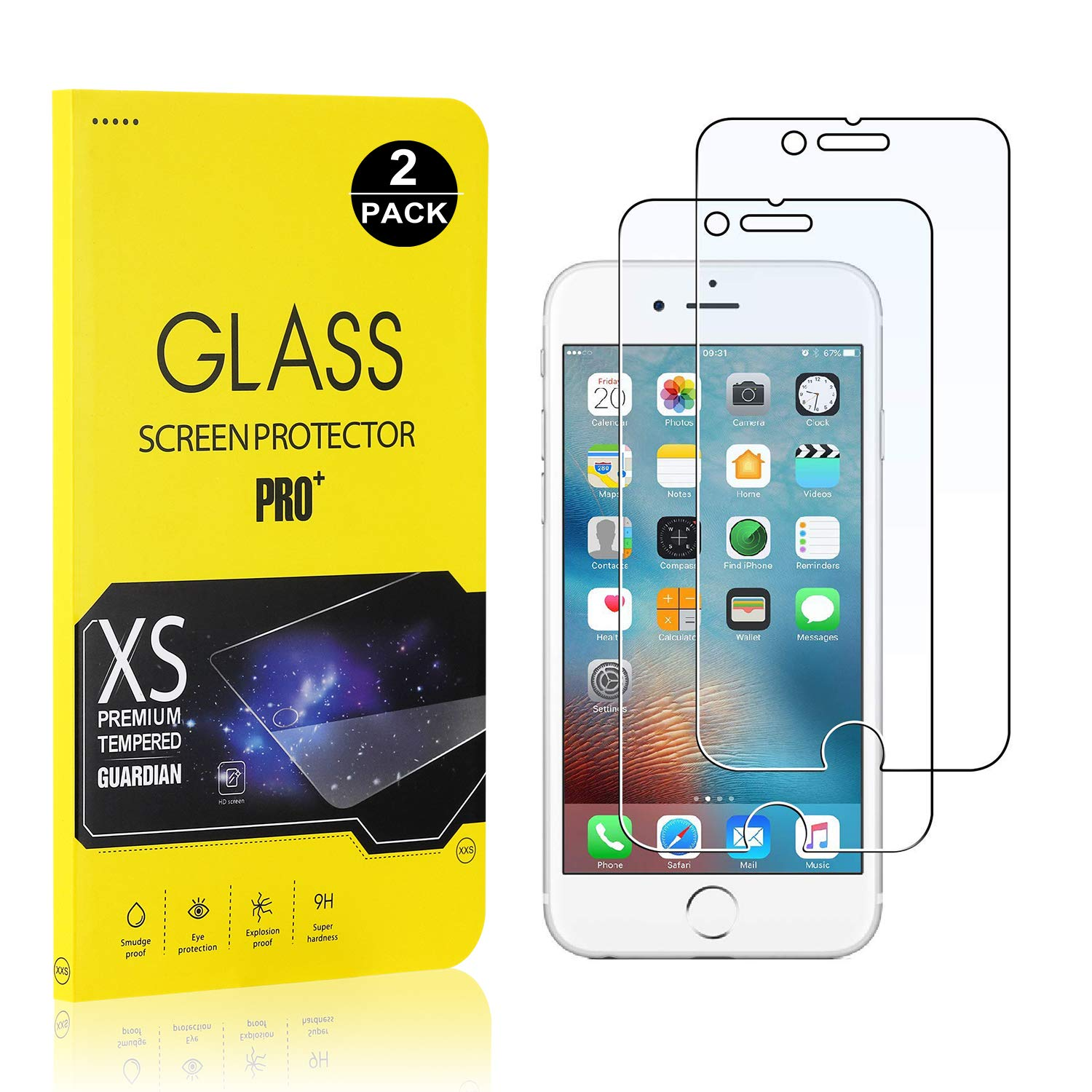 iPhone 6 Plus / 6S Plus / 7 Plus / 8 Plus Screen Protector, Bear Village® Tempered Glass Screen Protector [Lifetime Warranty], 9H Hardness Screen Protector Film for iPhone 6 / 6S / 7/8-2 Pack