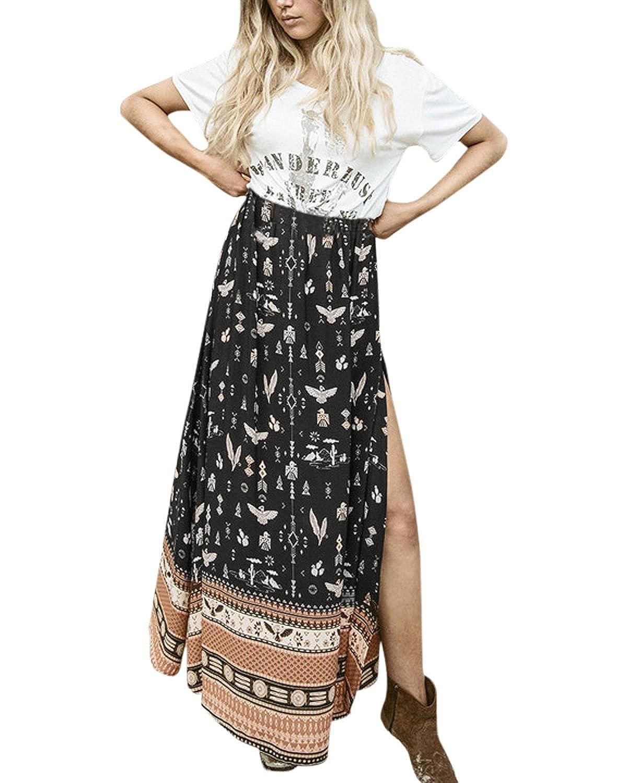 ZANZEA Damen Sexy Chiffon Printed Swing Split Lang Maxirock Sommer Strand Dress