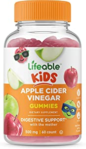 Lifeable Apple Cider Vinegar – for Kids – ACV with The Mother – 500 mg Gummies – Great Tasting Natural Flavor Vitamin Supplement – Gluten Free Vegetarian GMO-Free Chewable – for Children – 60 Gummies
