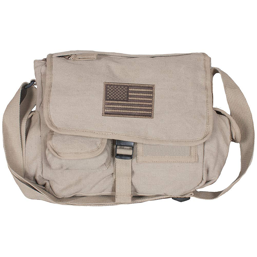 American Flag Patch Messenger Bag w 10 Pockets Color Washed Khaki Canvas