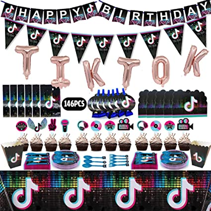 Tik Tok Party Supplies,16 Party Plates+20 Napkins+Tablecloth for Kids Tik Tok Theme Birthday Party Decorations