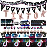 146 Pcs Tik Tok Party Decorations, TIK Tok Party Supplies Pack, TIK Tok Party Favors with Cake Toppers, Happy Birthday Banner