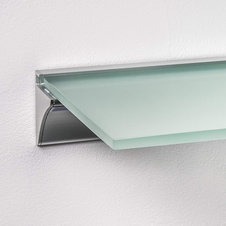 Silver 1 Piece, 81x18 cm Warm White LED Illuminated Edge Glass Shelf