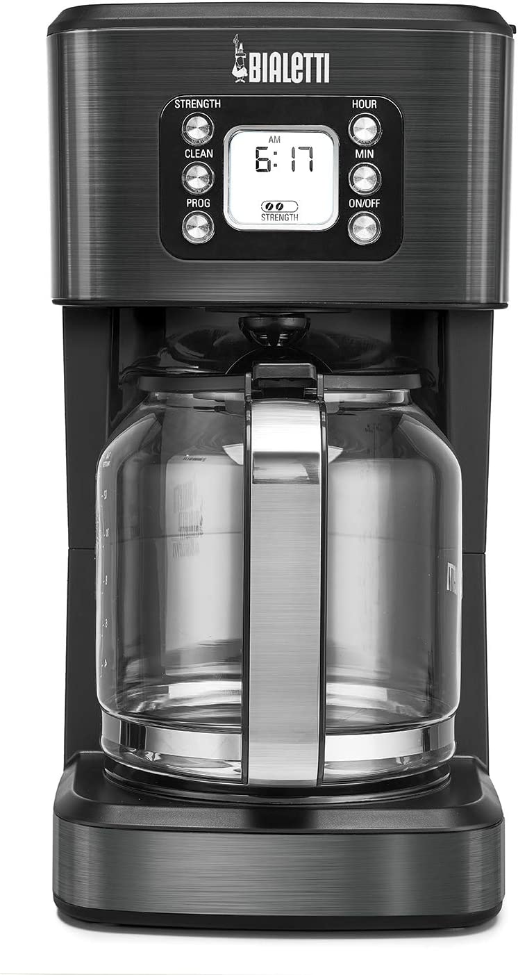 Bialetti 35041 14-Cup Glass Carafe Coffee Maker, Black Stainless Steel