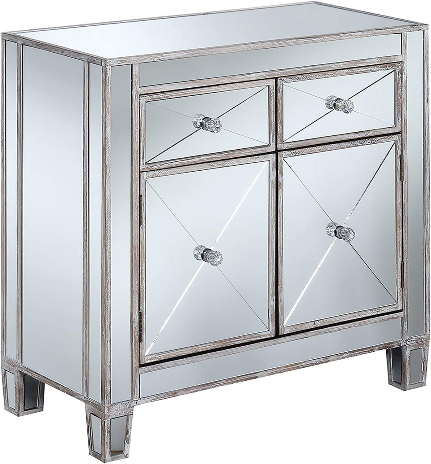 Convenience Concepts Gold Coast Vineyard 2 Drawer Mirrored Hall Table, Weathered White