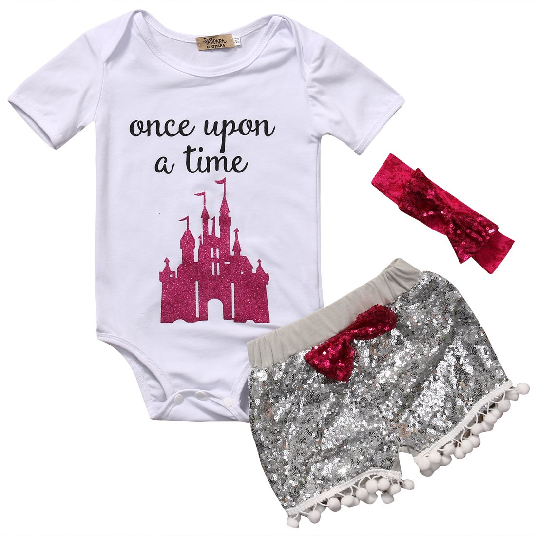 hirigin Baby Girls Clothes Set White Top Letter Print Romper+Grey Shorts+Bow Headband
