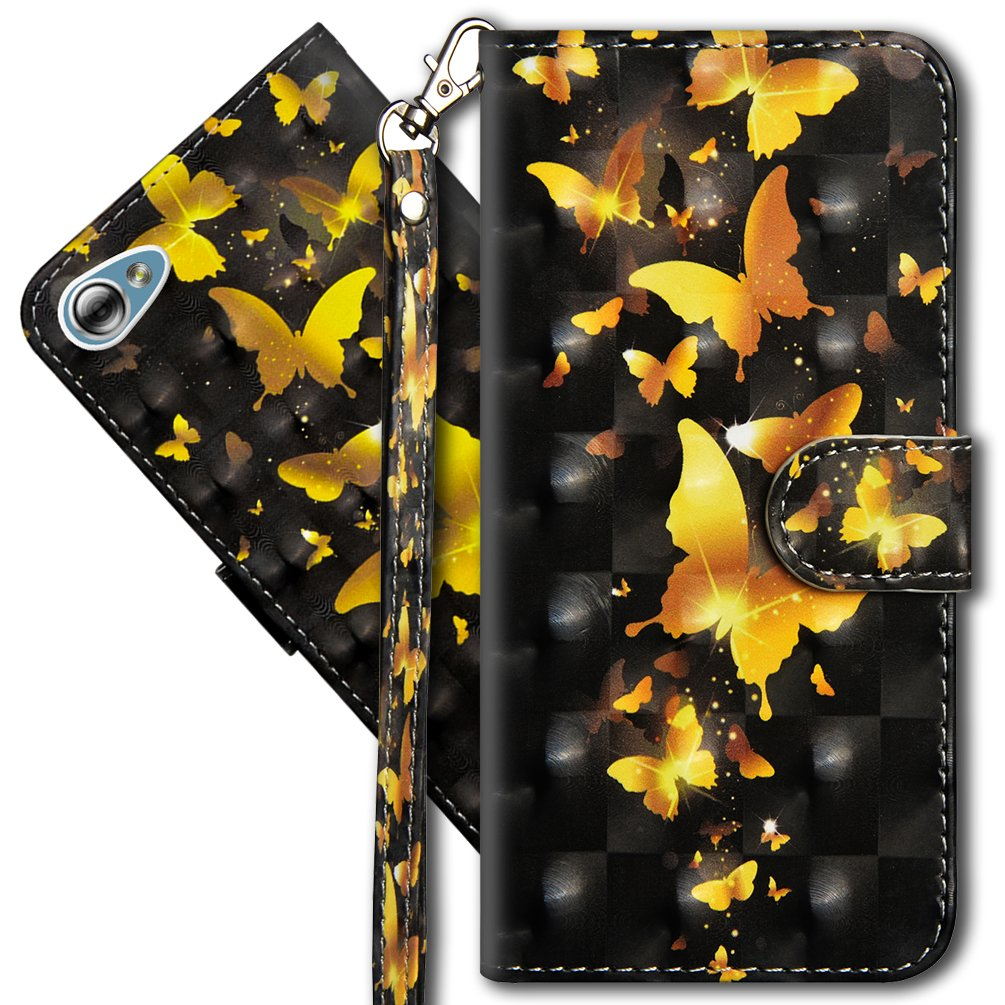 COTDINFORCA 3D Creative Painted Effect Design Full-Body Protective Cover for LG G6 Mini//LG Q6//LG Q6 Plus LG Q6 Plus Premium PU Leather Case PU- Golden Butterfly LG Q6 Wallet Case