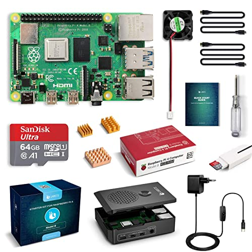 LABISTS Raspberry Pi 4 Model B Kit de 4 GB con SD de 64GB Clase 10 y 5 1V 3A Tipo C con Interruptor RPi Barebone con 3 Disipadores de Calor Ventilador Micro HDMI Lector de Tarjetas y Caja Negra