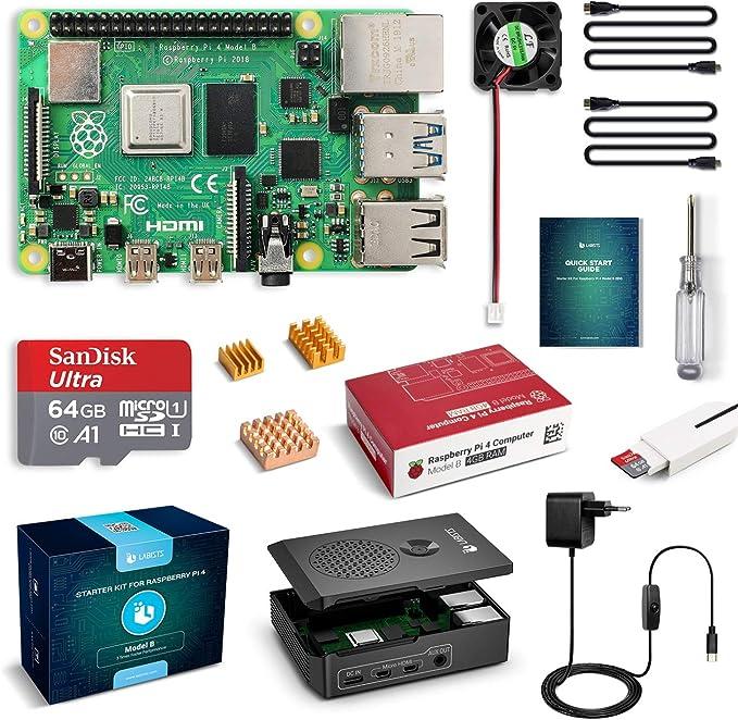 LABISTS Raspberry Pi 4 4 GB Kit Incluido Tarjeta SD de 64GB Precargada con Raspberry Pi OS, 5.1V 3A Tipo C con On/Off, Micro HDMI, 3 Disipadores de Calor, Ventilador, Lector de