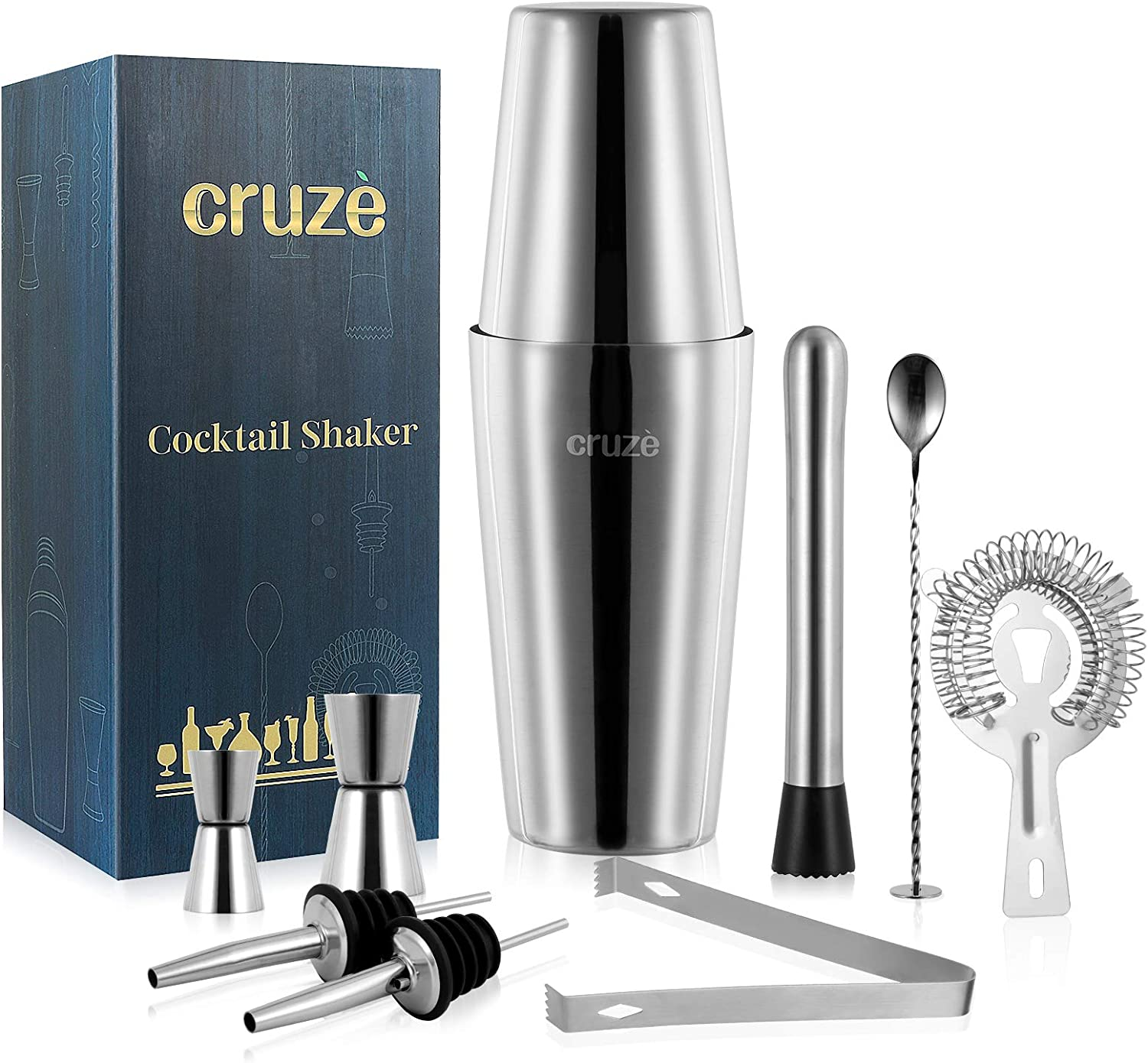 Cocktail Shaker Bar Mixer Set-Professional Bartender Premium Stainless Steel 25oz. Perfect For Homemade Party Drinks with Your Favourite Liquor Mixes. This 9 Piece Kit Has All The Essentials You Need.