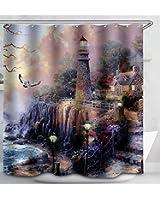 Lighthouse Floral Ocean Cottage Scene Fabric Shower Curtain 70x70 Kinkade Style