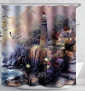 Lighthouse Floral Ocean Cottage Scene Fabric Shower Curtain 70x70 Kinkade  Style