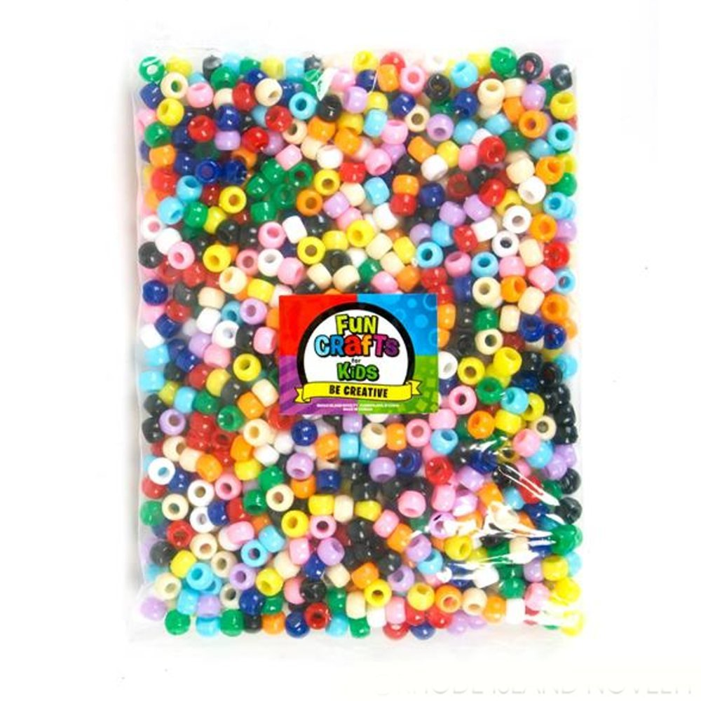 Assorted Pony Beads 1000 Pieces Necklaces 0.25 X 0.35 Cool and Fun Colorful Creative Plastic Beads and Keychain Customization DIY Accessories Great for Bracelets