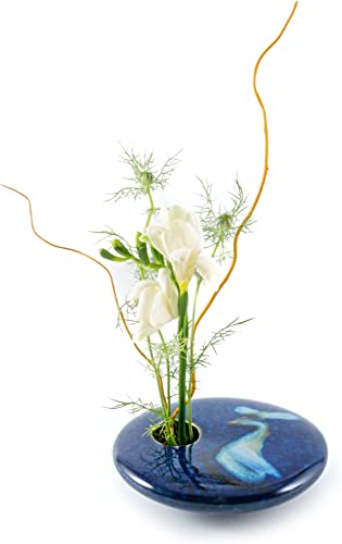 Georgetown Pottery Round Ikebana Flower Vase, Blue Wave