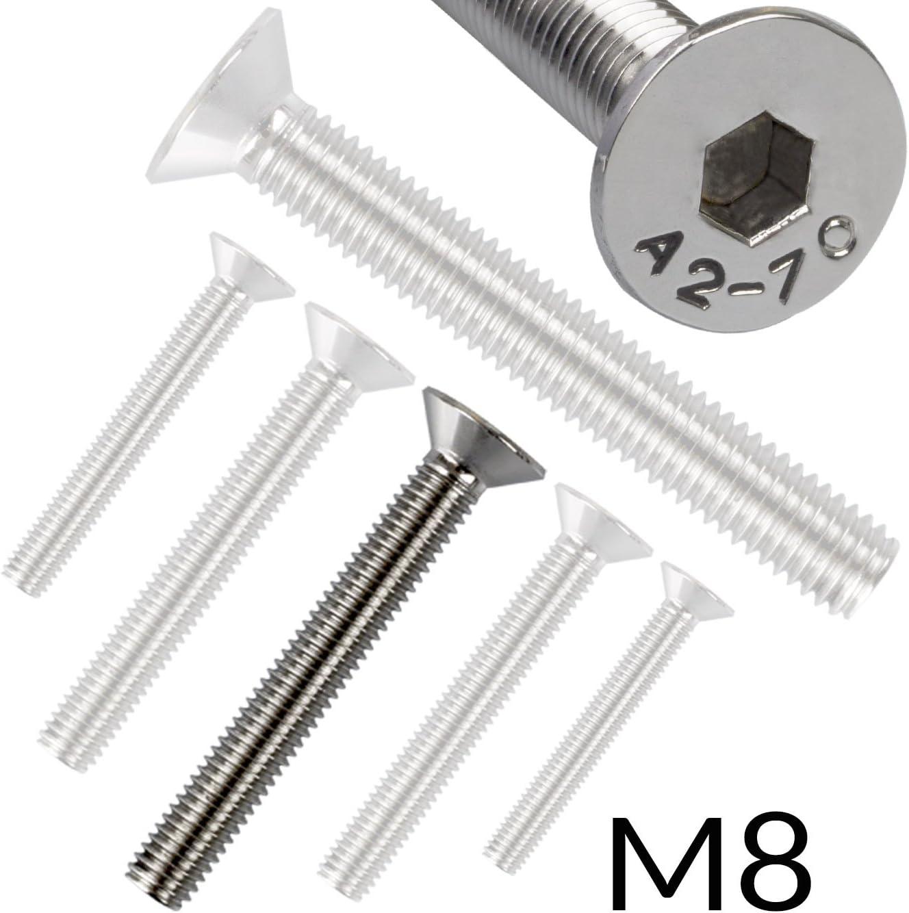 50 Senkkopfschrauben mit Innensechskant Edelstahl M 10 x 55 mm Vollgewindeschrauben Schrauben DIN 7991 A2